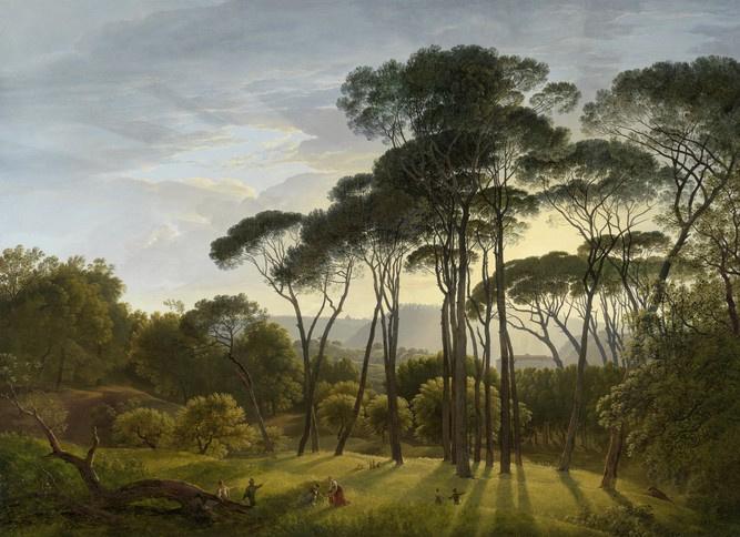 Hendrik Voogd: Italiaans landschap met parasoldennen. (1807). Kunstbeschouwing: 'Het magische landschap'