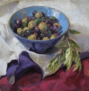 Anna Maria Vargiu, Olijvenstudie olieverf 50 x 50 cm