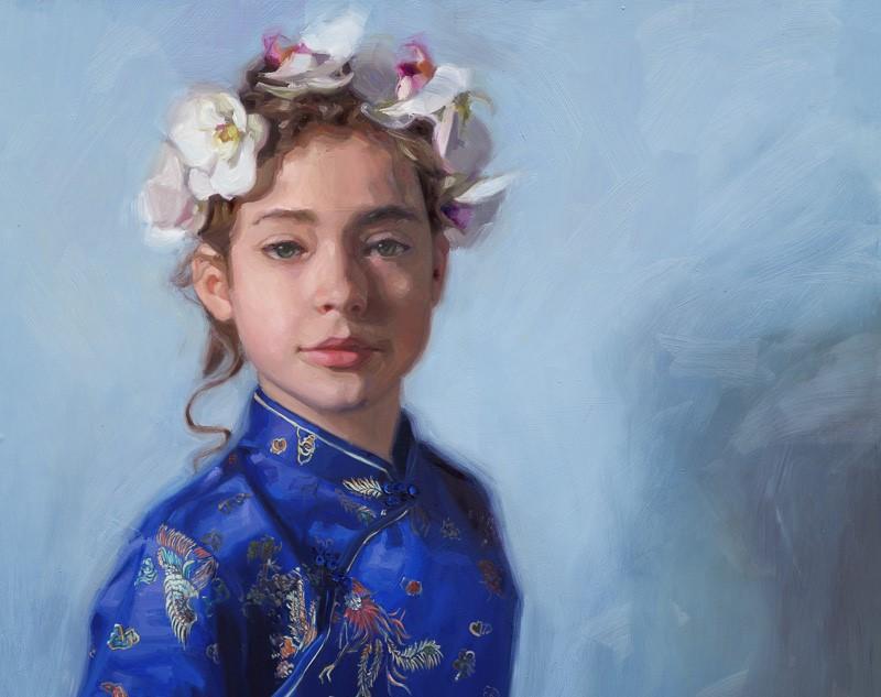 Carolien van Olphen, detail 'Blue Butterfly' Masterclass kinderportret bij OOK