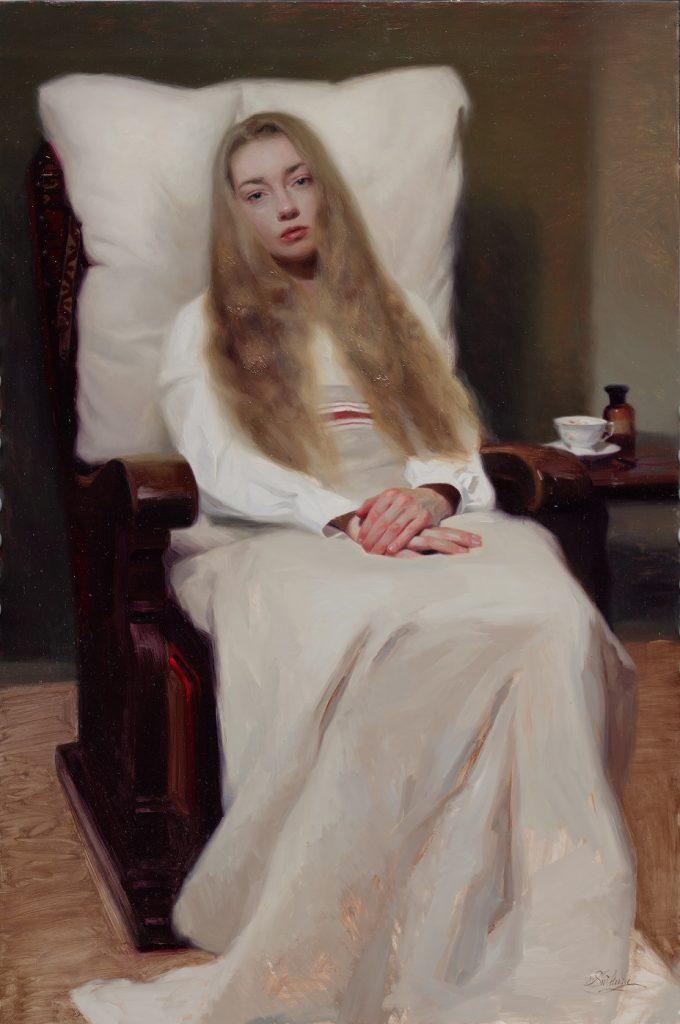 Svetlana Tartakovska 'Het zieke meisje' 80x120 cm olie op paneel