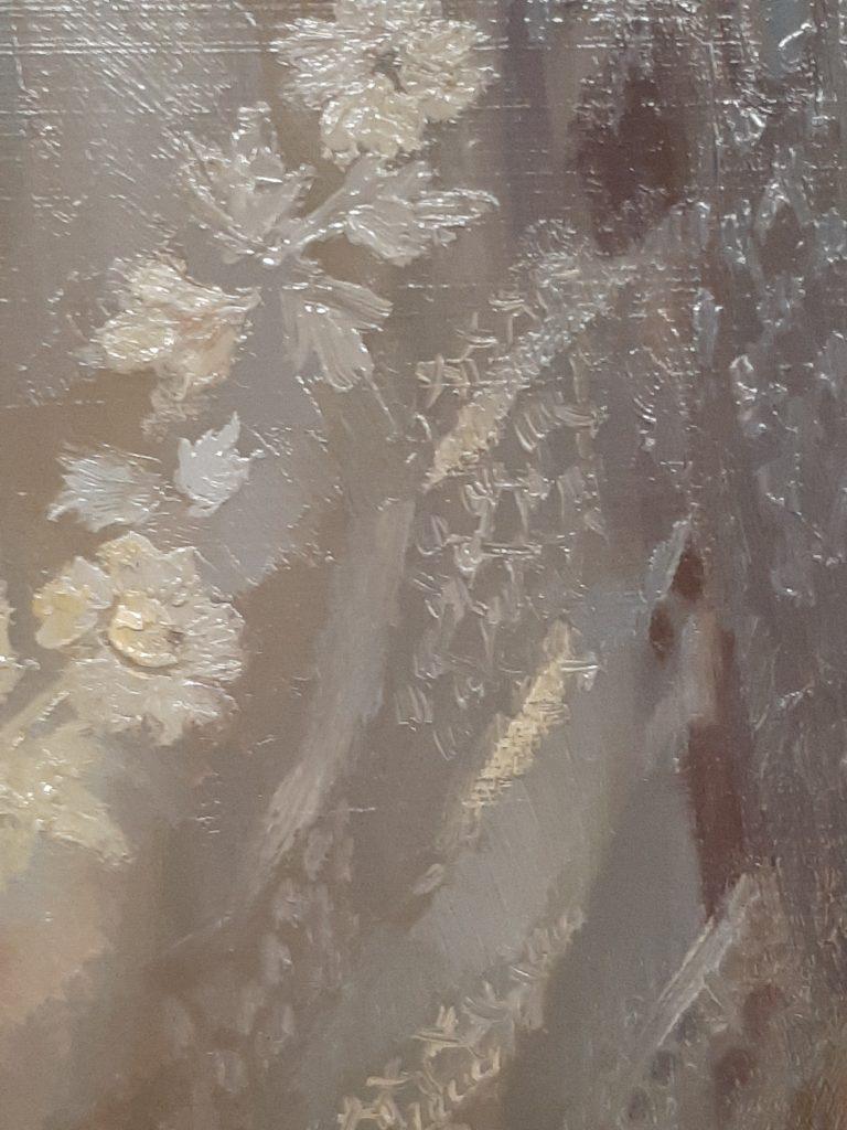 detail Stofuitdrukking van Jonge bruid Svetlana Tartakovska
