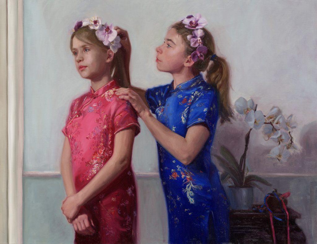 Carolien van Olphen 'Vriendschap' 100 x 130 cm olieverf op paneel